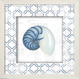 'Nautilus on Newsprint' Framed Painting Print by Beachcrest Home