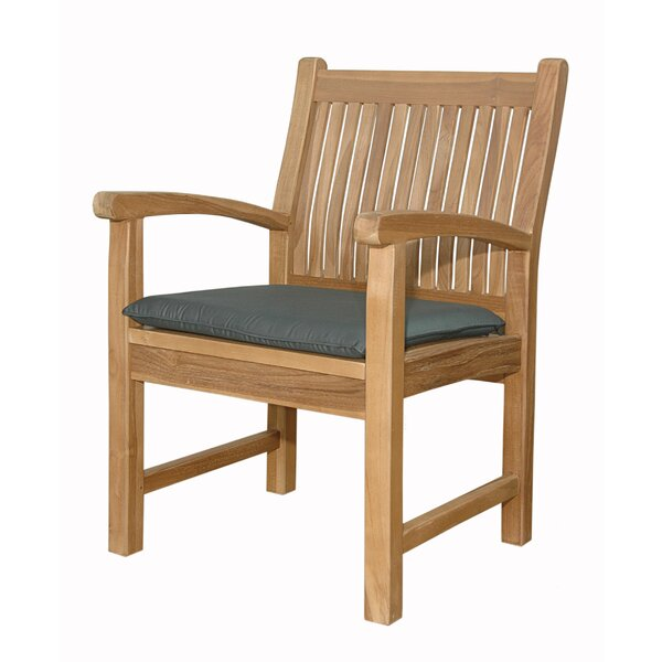 Mccarty Teak Patio Dining Chair with Cushion by Rosecliff Heights