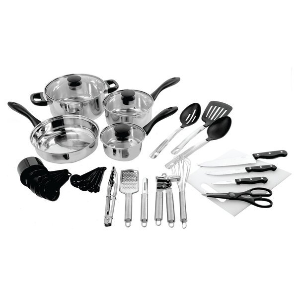 30 Piece Total Kitchen Cookware & Kitchen Tool Combo Set by Gibson