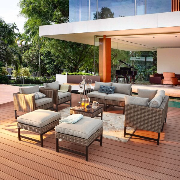 9 Piece Rattan Sofa Seating Group With Cushions By Latitude Run