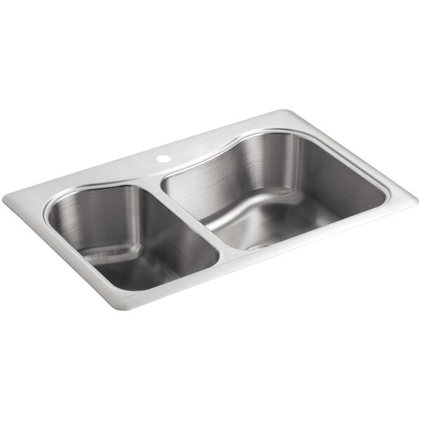 Staccato 33 L x 22 W x 8-5/16 Top-Mount Large/Medium Double-Bowl Kitchen Sink with Single Faucet Hole by Kohler