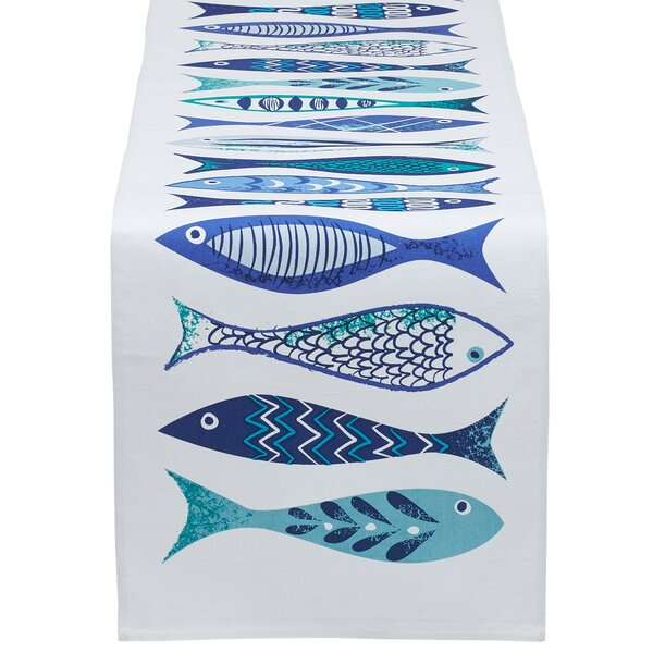 Collinsville Fish Printed Table Runner by Rosecliff Heights