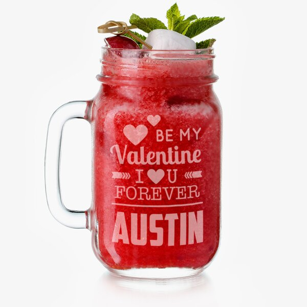 Personalized Be My Valentine Glass 16 oz. Mason Jar by Monogramonline Inc.