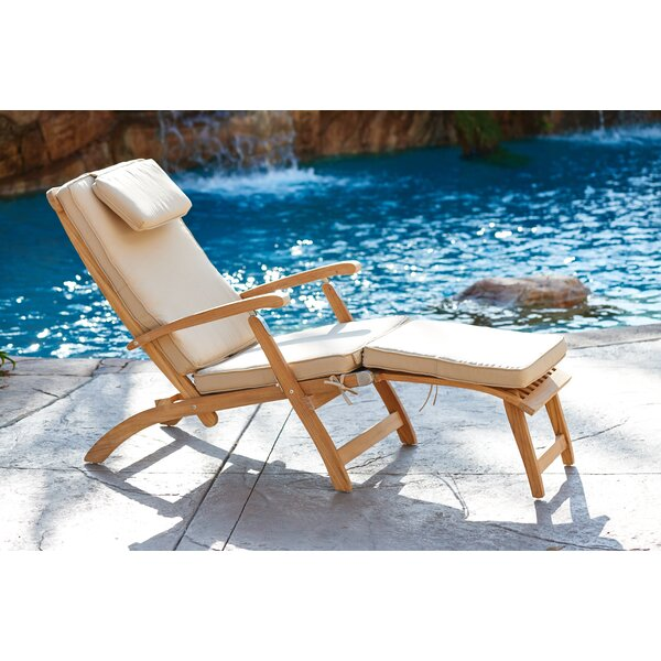 Cripe Reclining Teak Chaise Lounge with Cushion