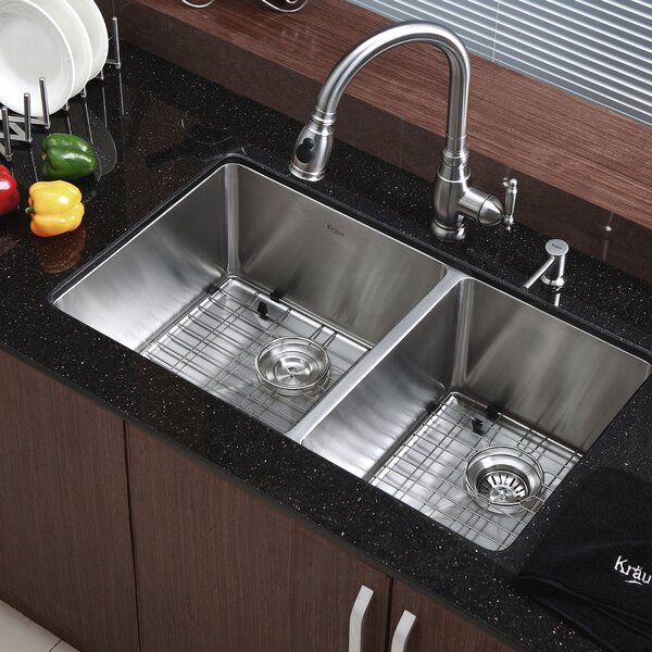 kraus 33 x 19 double basin undermount kitchen sink with. Black Bedroom Furniture Sets. Home Design Ideas