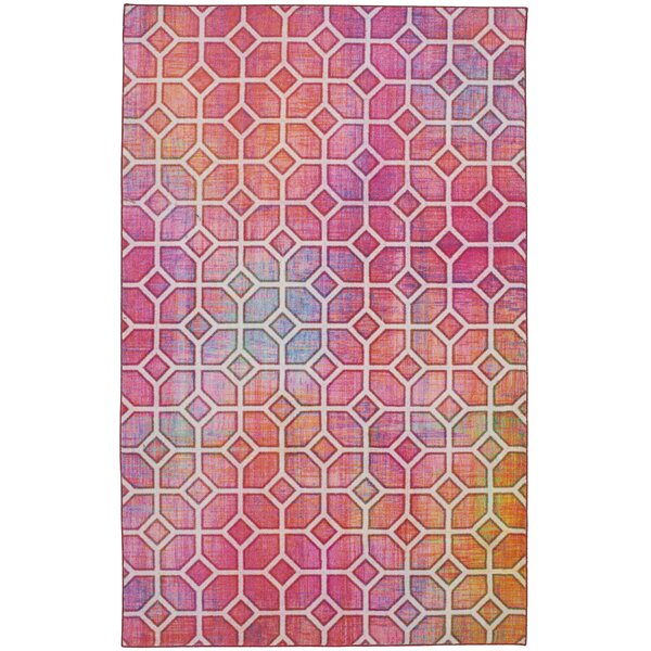 Tenafly Trellis Kaleidoscope Pink Area Rug by Brayden Studio