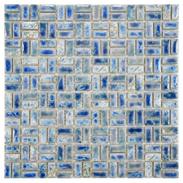 Arcadia Weave 0.5 x 1 Porcelain Mosaic Tile in Neptune Blue by EliteTile