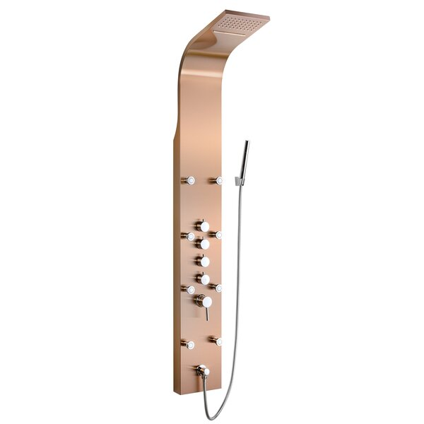Rainfall Waterfall Stainless Steel Volume Control Fixed Shower Head Panel with Handheld Wand by AKDY