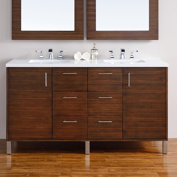 Cordie 60 Double American Walnut Solid Wood Base Bathroom Vanity Set by Orren Ellis
