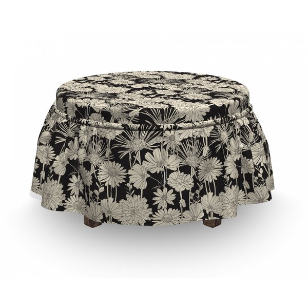 Monochrome Spring Growth Ottoman Slipcover (Set Of 2) By East Urban Home