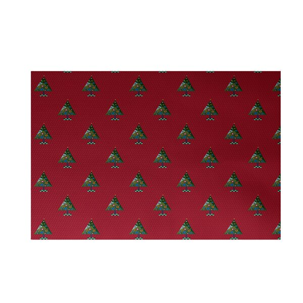 Crazy Christmas Decorative Holiday Print Red Indoo