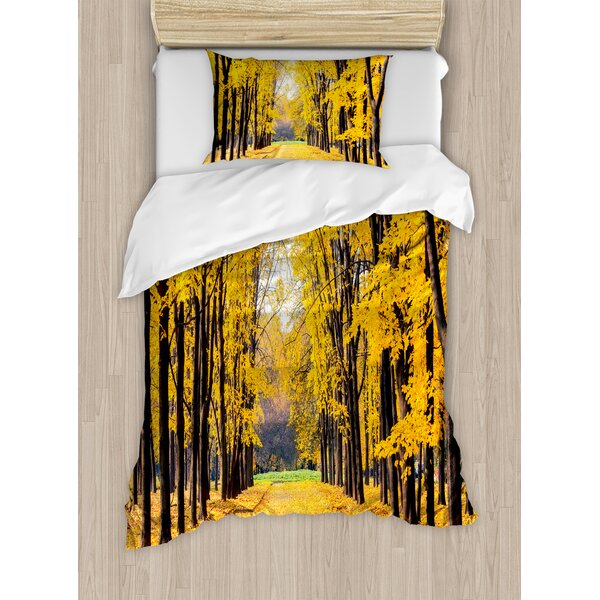 Nature Autumn Fall Trees Falls Dried Leaves Scenery on Road Path Photo Artwork Duvet Set by East Urban Home