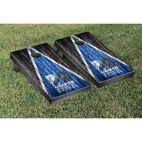 Massachusetts UMASS Medical School Triangle Weathered Version Cornhole Game Set by Victory Tailgate