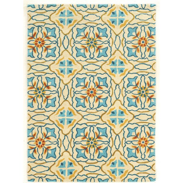Mugge Hand-Tufted Blue/Beige/Orange Area Rug by Charlton Home
