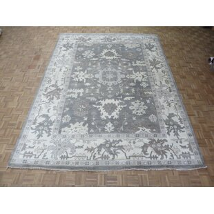 Compare prices One-of-a-Kind Eladia Oushak Hand-Knotted Wool Gray Area Rug By World Menagerie
