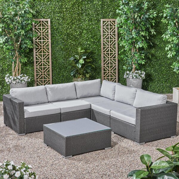 Roxann Outdoor 5 Seater Wicker Sectional Sofa Set With Sunbrella Cushions By Brayden Studio
