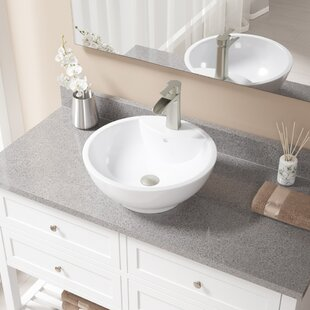 Great choice Vitreous China Circular Vessel Bathroom Sink with Faucet and Overflow By MR Direct