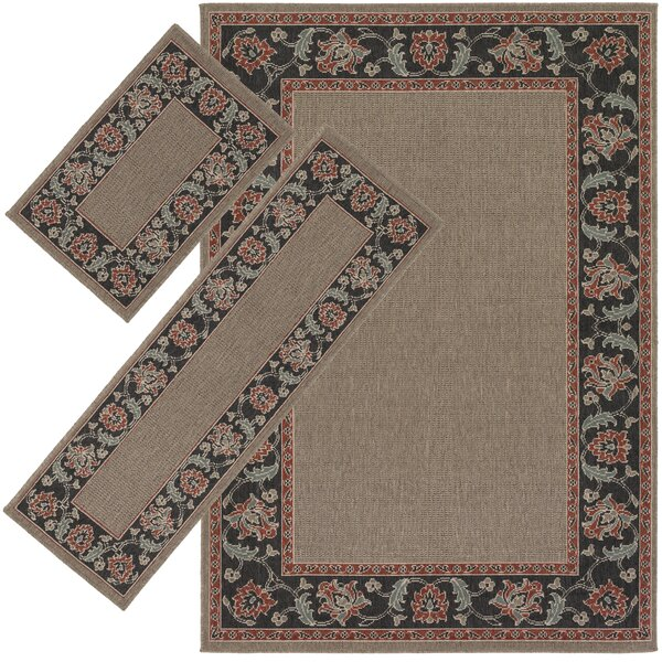 Roanoke Brown/Black 3 Piece Indoor/Outdoor Area Rug Set by Threadbind