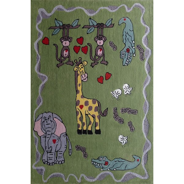 Hayse Animal Friends Hand-Tufted Green Area Rug by Zoomie Kids