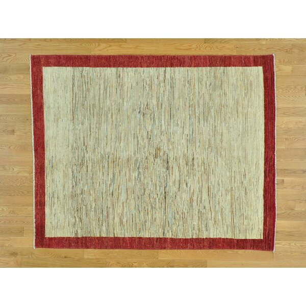 One-of-a-Kind Becker Striped Hand-Knotted Beige Wool Area Rug by Isabelline