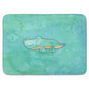 Alligator Watercolor Memory Foam Bath Rug