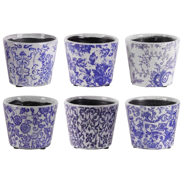 Kagan Round Floral Design Body 12 Piece Terracotta Pot Planter Set by Bloomsbury Market