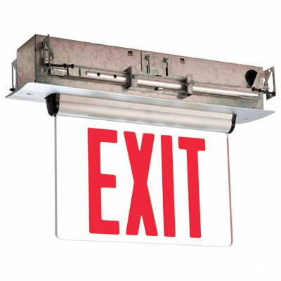 Single Face Universal Mount Red Led Edge Lit Exit Sign By Barron Lighting.