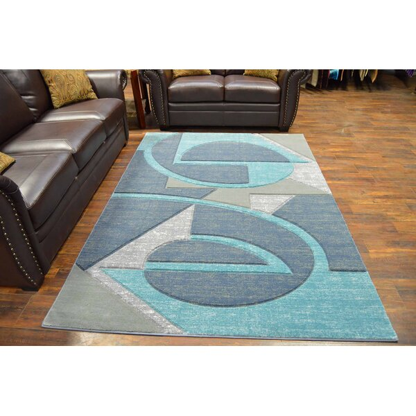 Mccampbell 3D Abstract Gray/Blue Area Rug by Ivy Bronx