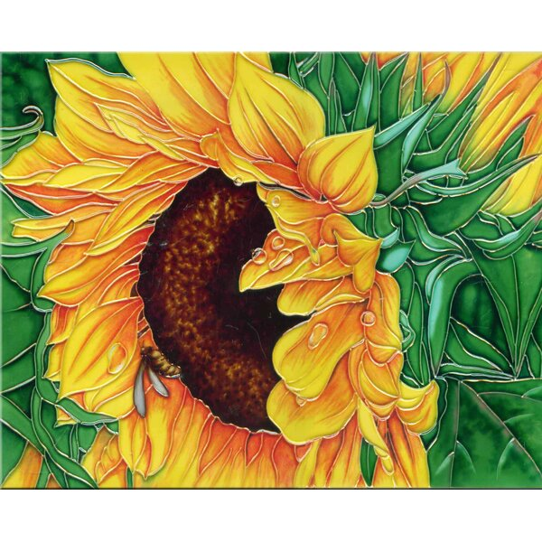 Sunflower with Green Leaves Tile Wall Decor by Continental Art Center