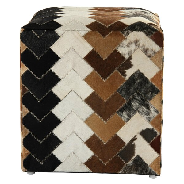 Great Falls Arrow Leather Cube Ottoman By Loon Peak