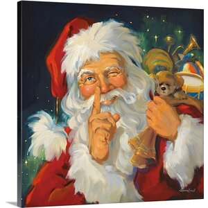 Christmas Art 'Twinkle in His Eye' by Susan Comish Painting Print on Wrapped Canvas by Great Big Canvas