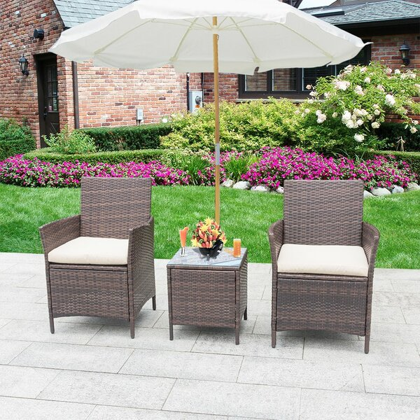Jagger 3 Piece Rattan 2 Person Seating Group with Cushions by Brayden Studio