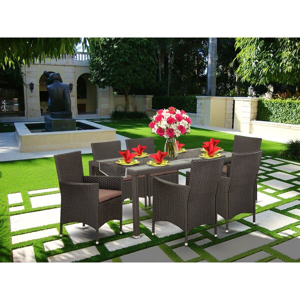 Toomey Patio Yard 7 Piece Dining Set with Cushions by Wrought Studio