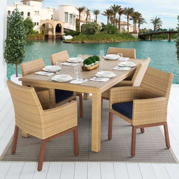 Addison 7 Piece Dining Set with Sunbrella Cushions by Bayou Breeze