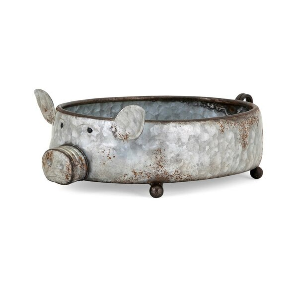 Puppis Piggy Metal Pot Planter by Gracie Oaks