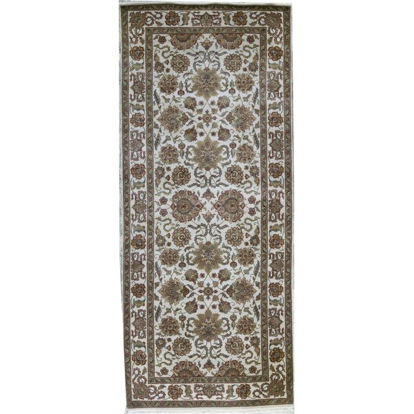 Hand-Knotted Wool Ivory/Green Rug