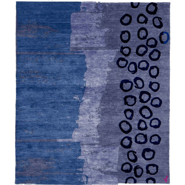 One-of-a-Kind Likens Hand-Knotted Traditional Style Blue 12' x 18' Wool Area Rug