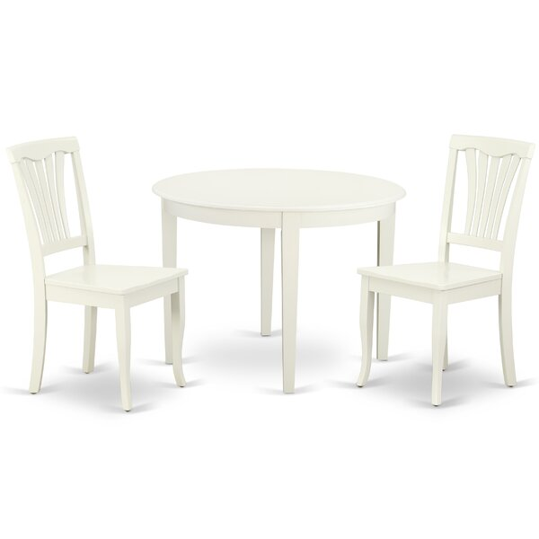 Kowalsky 3 Piece Solid Wood Breakfast Nook Dining Set by August Grove