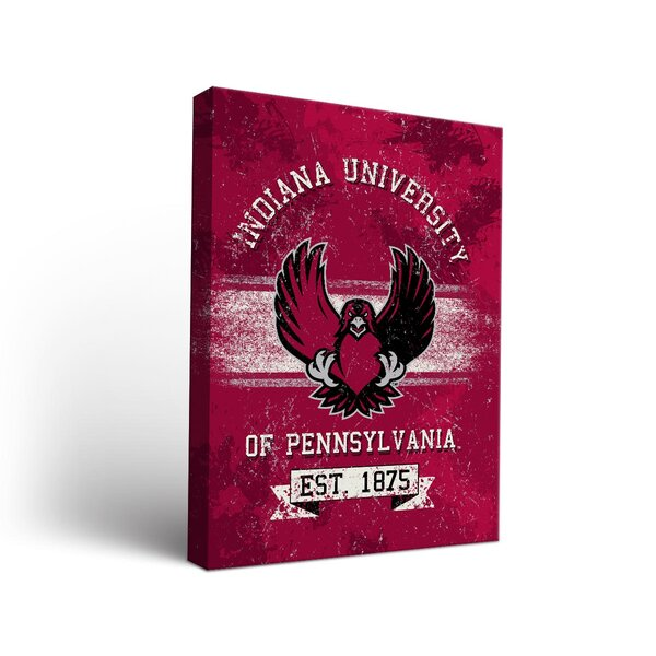 NCAA Indiana University of Pennsylvania Crimson Hawks Banner Vintage Design Framed Graphic Art on Wrapped Canvas by Victory Tailgate