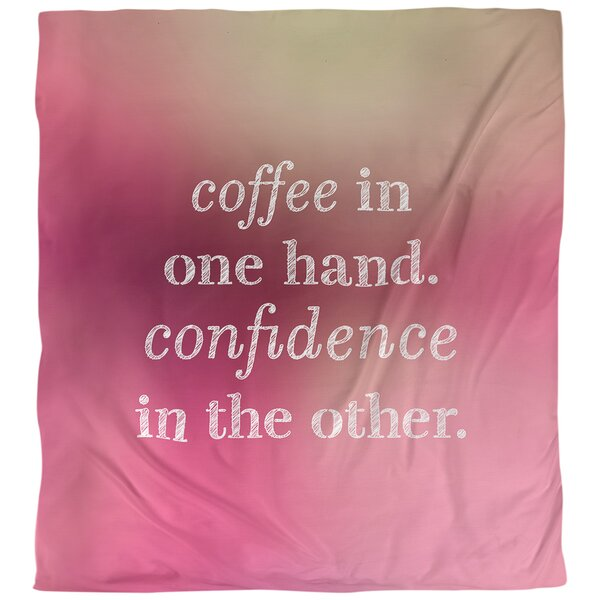 Coffee & Confidence Quote Single Duvet Cover