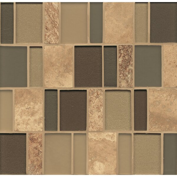Remy Glass 12 x 13 Mosaic Brick Stone/Glass Blends Tile in Everett by Grayson Martin