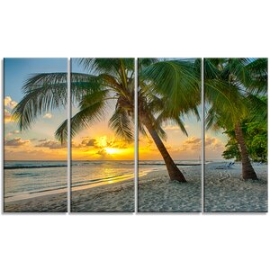 'Beach in Caribbean Island of Barbados' 4 Piece Photographic Print on Wrapped Canvas Set by Design Art