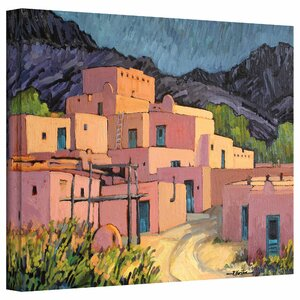 'Taos Pueblo' by Rick Kersten Print of Painting on Unwrapped Canvas by ArtWall