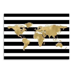 World Map Black White Stripe Poster Gallery Graphic Art by Mercer41
