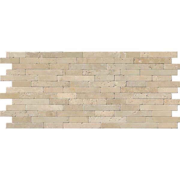 Chiaro Tumbled Veneer Travertine Staggered tile in Beige by MSI