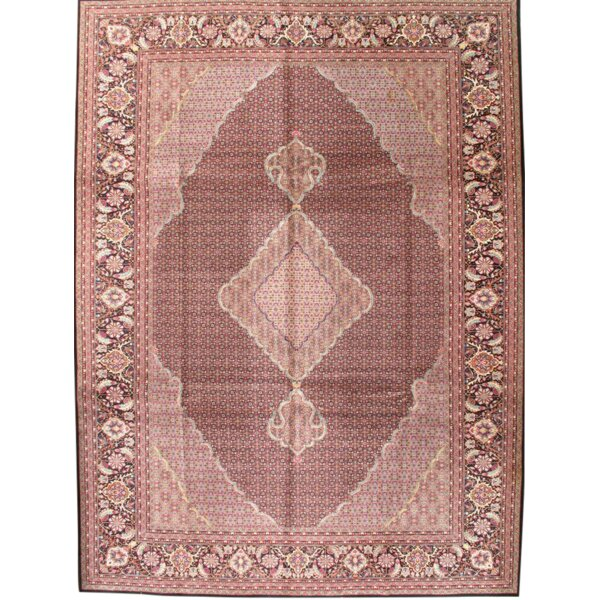 One-of-a-Kind Gresham Hand-Knotted 2000s Tabriz Pink 10'2 x 14' Wool Area Rug