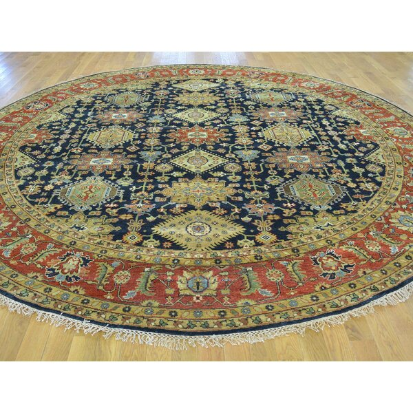 One-of-a-Kind Blondene Karajeh Hand-Knotted Black Wool Area Rug by Isabelline