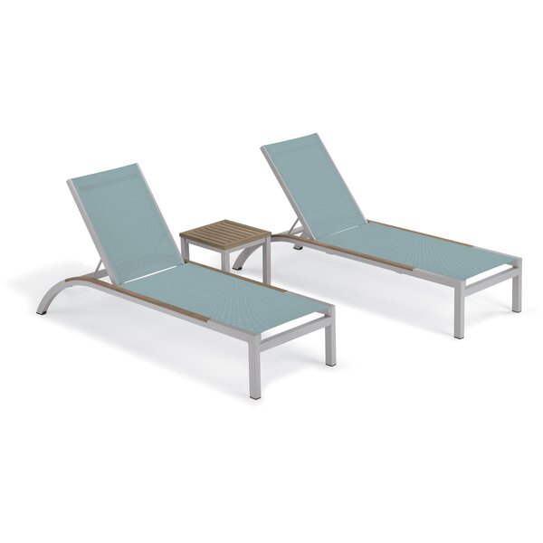 Saint-Pierre Reclining Chaise Lounge with Table by Brayden Studio