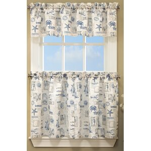By The Sea Printed Ocean Beach Kitchen Curtain Valance
