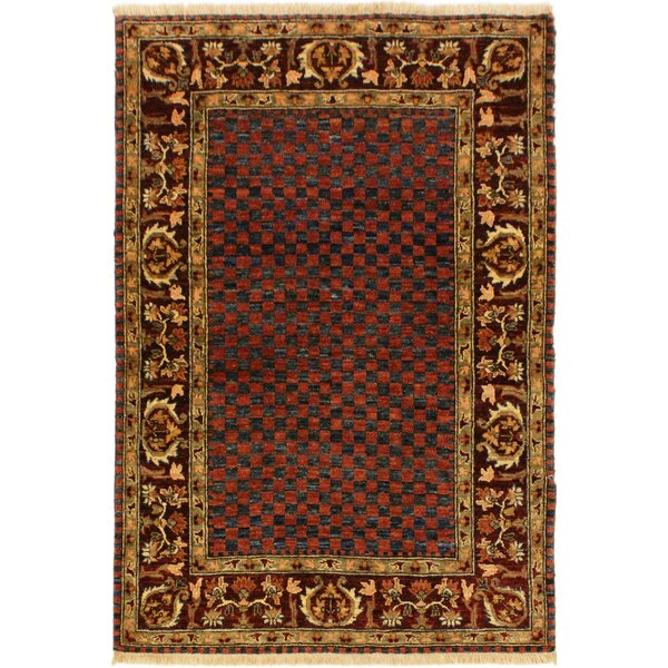 One-of-a-Kind Milo Hand-Knotted Wool Blue/Dark Red Area Rug by Fleur De Lis Living